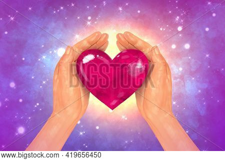 Bright Multicolor Illustration. Hands Hug Hold A Red Heart On A Background Of Starry Space. Love, Ho
