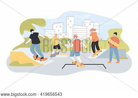 Active Teenagers Riding Skateboards. Cartoon Characters Performing Tricks, Jumping At Skate Park Fla