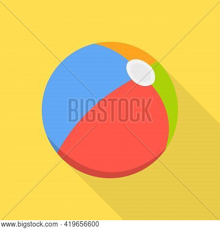 Beach Ball, Multicolored Beach Ball With Long Shadow. Vector. Cartoon Illustration. Vector.