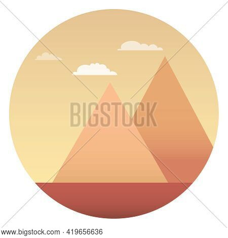 Egyptian Pyramids, Egyptian Pyramids Against The Backdrop Of The Sunset. Vector. Cartoon Illustratio