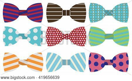 The Bow Tie. Large Set Of Bow Ties Isolated On White Background. Vector. Cartoon Illustration. Vecto