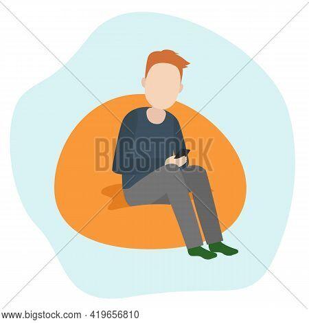 Man Sit With Smartphone On Floor Pillow. Smartphone Addiction. Vector Illustration.