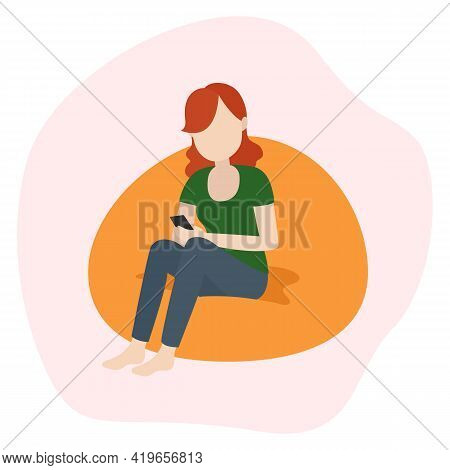 Woman Sit With Smartphone On Lounge Chair. Smartphone Dependency. Vector Illustration.