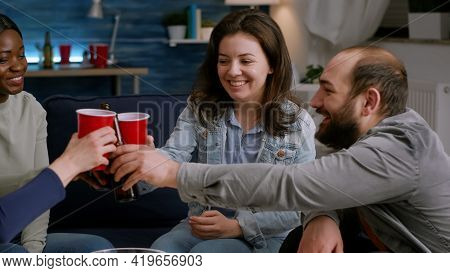 Group Of Multi-cultural Happy Friends Having Fun During Free Wekeend Party