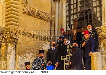 Jerusalem, Israel - April 30, 2021: The Greek Orthodox Patriarch Blessed The Crowd, On Orthodox Good