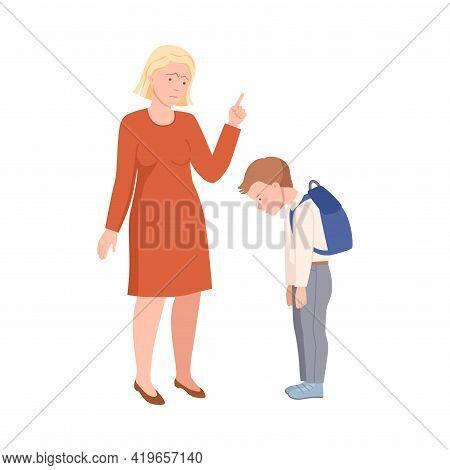 Annoyed Mother Scolding Her Son For Bad Behavior At School Vector Illustration