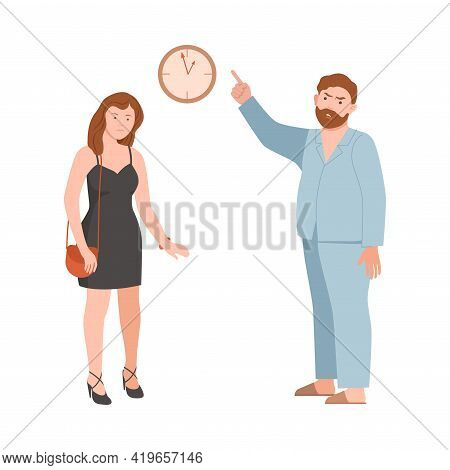Annoyed Dad Scolding His Teenage Daughter For Being Late Vector Illustration