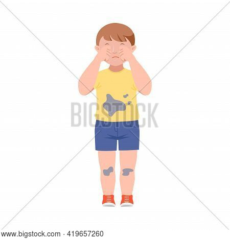 Embarrassed Little Boy In Dirty Clothes Crying Demonstrating Guilt Vector Illustration
