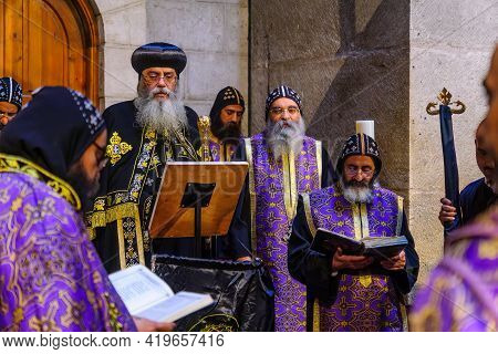 Jerusalem, Israel - April 30, 2021: Coptic Patriarch And Priests, On Orthodox Good Friday, In The Ho