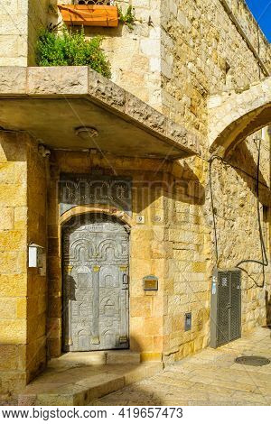 Jerusalem, Israel - April 30, 2021: View Of The Entrance Door To The Yeshivat Hamekubalim, In The Ol