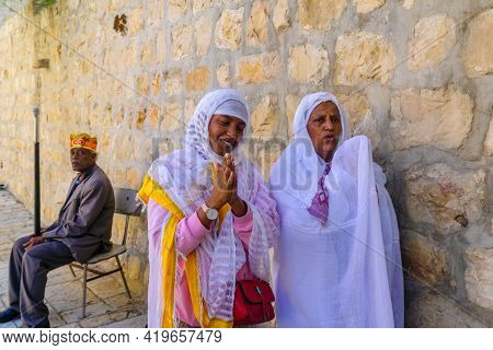 Jerusalem, Israel - May 01, 2021: Members Of The Ethiopian Orthodox Tewahedo Church Community, On Ho