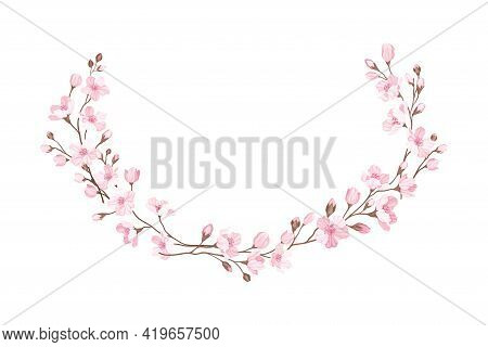 Semicircle Border Arranged Of Twigs Of Sakura Or Cherry Blossom Vector Illustration
