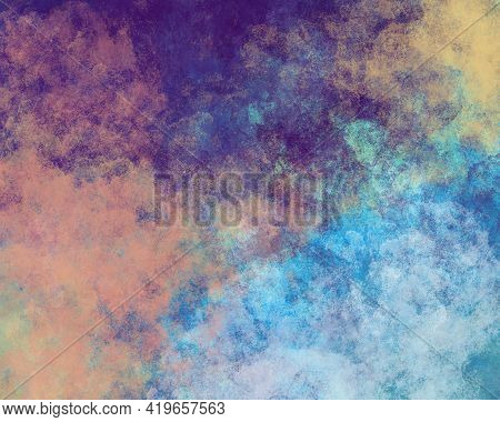 Textured Grainy Gloomy Multicolor Splattered Grunge Background With Mix Of Paints And Scuffs