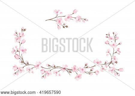 Sakura Or Cherry Blossom Twigs Arranged In Border Line Vector Illustration