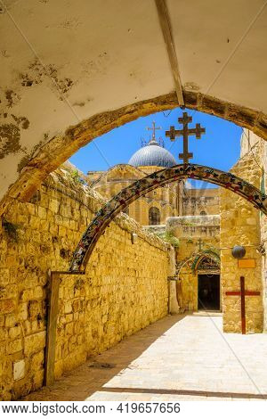 Jerusalem, Israel - May 01, 2021: View Of The Coptic Orthodox Church, And The Holy Sepulchre Church,