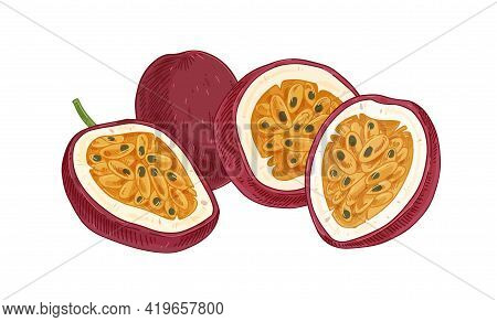 Ripe Pulpy Passion Fruits Isolated On White. Juicy Sweet Flesh With Seeds Of Ripened Passionfruit Ha
