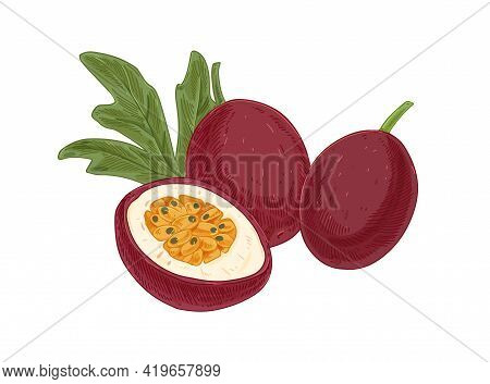 Whole Passion Fruits, Passionfruits Half And Leaf. Cut Piece Of Maracuja With Juicy Flesh With Seeds