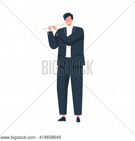 Musician Playing Flute, Standing In Suit. Flutist Performing Classic Music On Wind Instrument. Solo