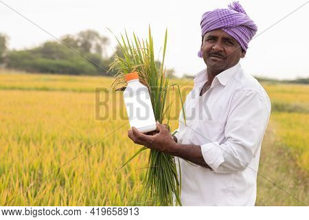 Happy Smiling Farmer Holding Paddy Crop And Pesticide Or Chemical Fertilizer Bottle In Hand By Looki