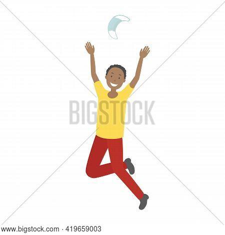 African-american Man Rejoice At Epidemic Ending And Toss Medical Mask. Vector Illustration.