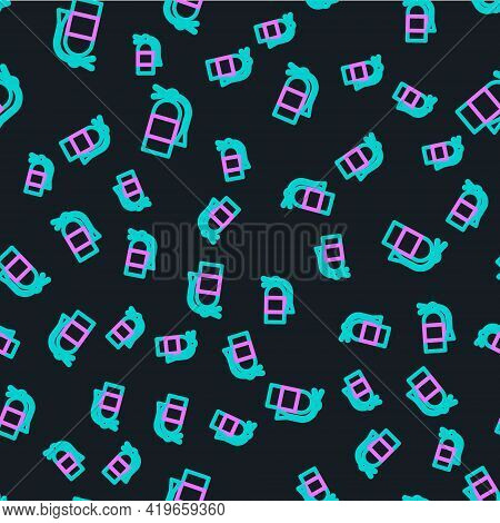 Line Fire Extinguisher Icon Isolated Seamless Pattern On Black Background. Vector Illustration