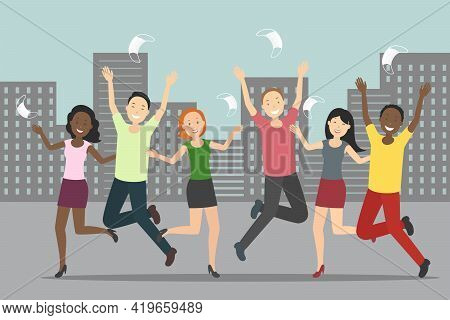 Multiethnic Group Of Young  People Rejoice At Quarantine Cancellation. Vector Illustration.