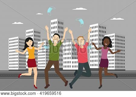 Young People Rejoice At Quarantine Cancellation And Toss Masks. Vector Illustration.