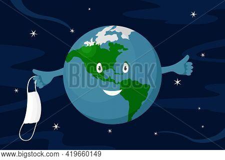 Planet Earth Take Off Medical Mask. Epidemic Ending. Vector Illustration.