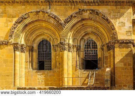 View Of The Facade Of The Holy Sepulchre Church, Jerusalem Old City, Israel