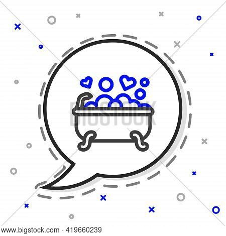 Line Romantic In Bathroom Icon Isolated On White Background. Concept Romantic Date. Romantic Bathroo
