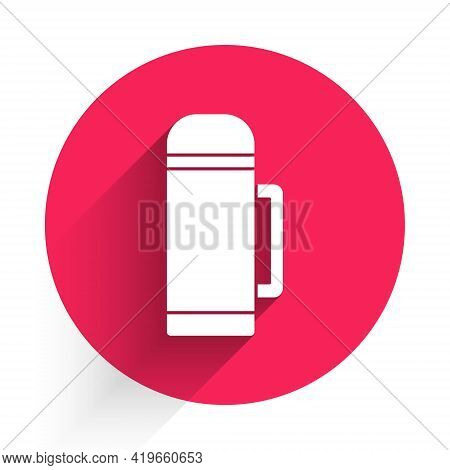 White Thermos Container Icon Isolated With Long Shadow. Thermo Flask Icon. Camping And Hiking Equipm
