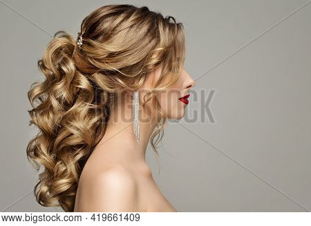 Beauty Woman Hair Style. Bride Wedding Hairstyle Side View. Fashion Model Portrait With Elegant Curl