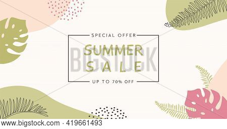 Bohemian Summer Sale Horizontal Banner Template. Trendy Abstract Background With Tropical Palm Leaf