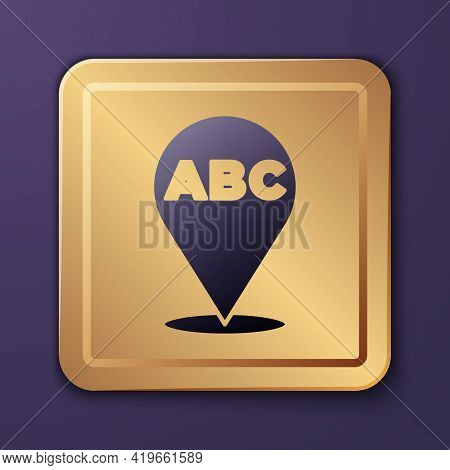 Purple Alphabet Icon Isolated On Purple Background. Gold Square Button. Vector