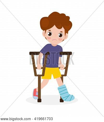 Asian Sad Kid Injured With Broken Leg In Gypsum. Little Children Standing On Crutches, Cartoon Teen