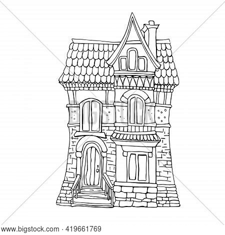 Coloring Picture With Cartoon Fairytale House. Hand Drawing Illustration.