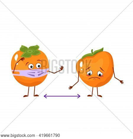 Cute Persimmon Characters With Emotions, Face And Mask Keep Distance, Arms And Legs. People Made Of