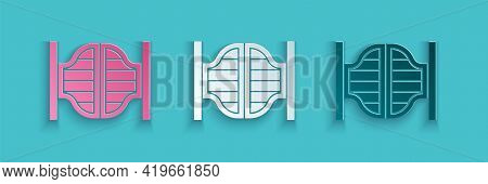 Paper Cut Old Western Swinging Saloon Door Icon Isolated On Blue Background. Paper Art Style. Vector