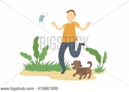 Caucasian Man Stroll Outdoors And Take Off Medical Mask. Lockdown Ending. Vector Illustration.