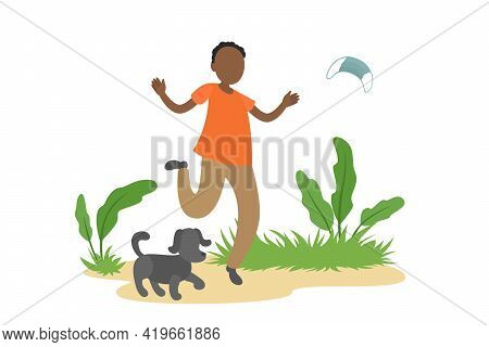African-american Man Walk Outdoors And Take Off Medical Mask. Self-isolation Ending. Vector Illustra