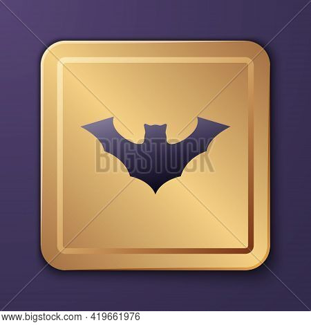 Purple Flying Bat Icon Isolated On Purple Background. Gold Square Button. Vector