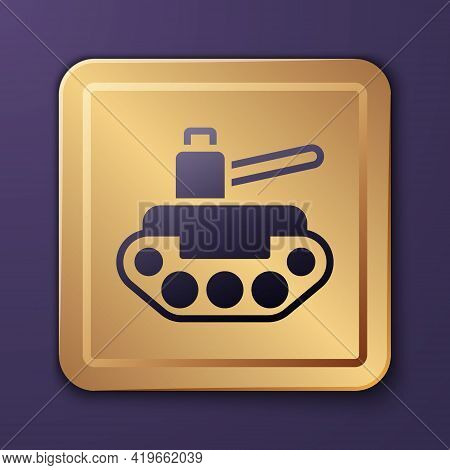 Purple Military Tank Icon Isolated On Purple Background. Gold Square Button. Vector