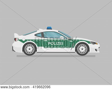 German Police Super Car. Side View. Cartoon Flat Illustration. Auto For Graphic And Web. Translation