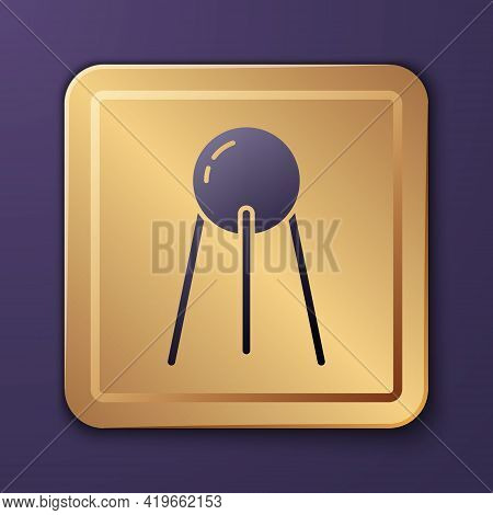 Purple Satellite Icon Isolated On Purple Background. Gold Square Button. Vector