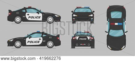 American Police Sport Car. Side View, Front View, Back View, Top View. Cartoon Flat Illustration, Au