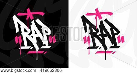 Hand Written Hip Hop Urban Graffiti Style Word Rap Vector Illustration