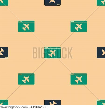 Green And Black Website Template Icon Isolated Seamless Pattern On Beige Background. Internet Commun