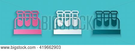 Paper Cut Test Tube Or Flask With Blood Icon Isolated On Blue Background. Laboratory, Chemical, Scie