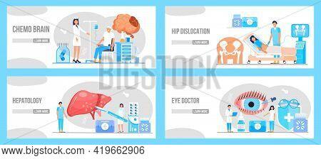 Medical Ophthalmologist Eyesight Check Up. Conjunctivitis Concept Vector. Rheumatoid Arthritis Of Th
