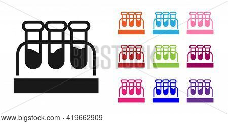 Black Test Tube Or Flask With Blood Icon Isolated On White Background. Laboratory, Chemical, Scienti